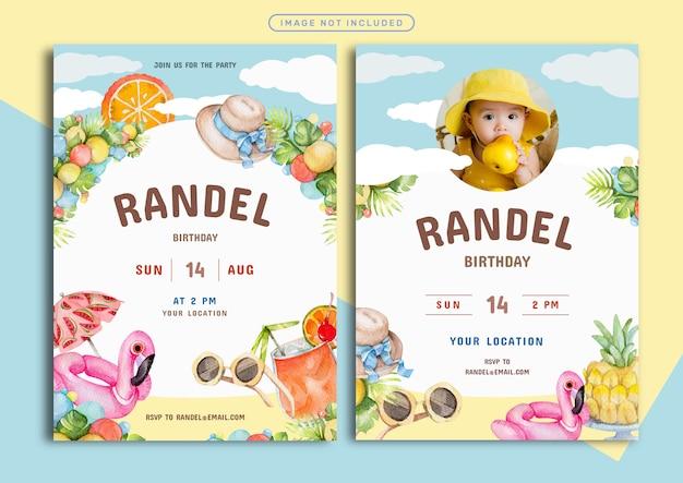 Summer theme birthday invitation card template