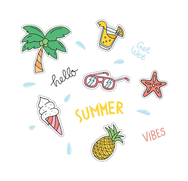 Summer theme patches set