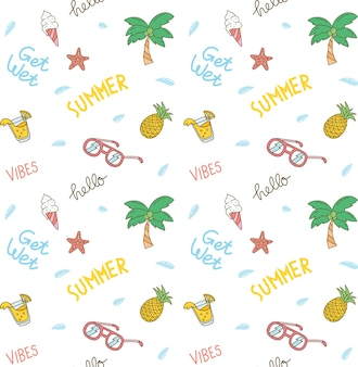 Summer theme seamless background