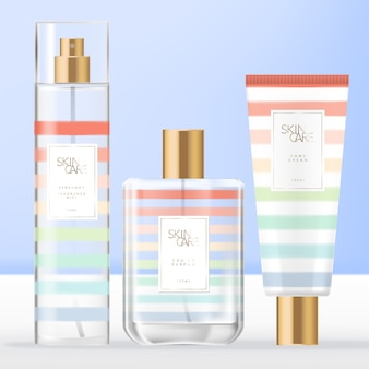 夏のテーマトイレタリー、香水ボトル、ボディまたはフェイシャルミストスプレーボトルを使用した美容または香りセット&レインボーストライプパターンデザインのハンドクリームチューブパッケージ。