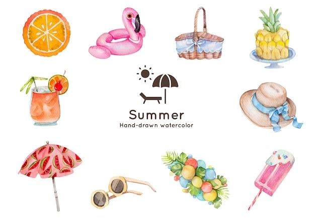 여름 테마 수채화 그림