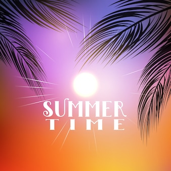 Summer themed background with palm tree branches
