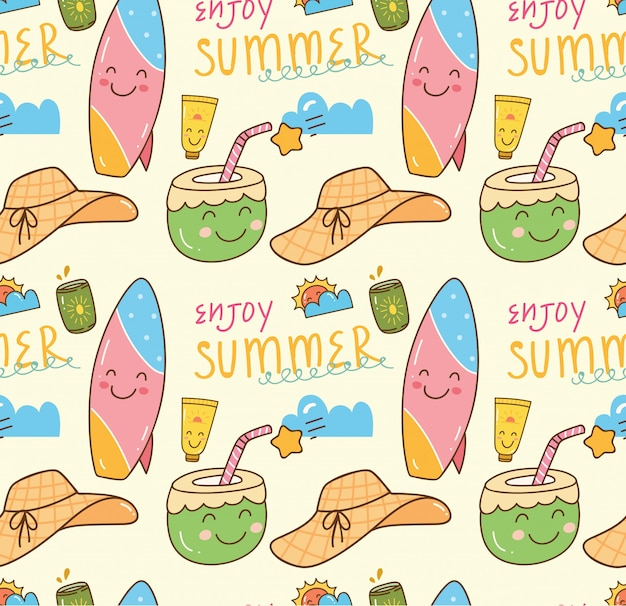 Summer themed doodle seamless background