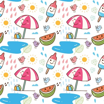Summer themed kawaii seamless pattern