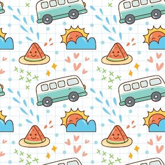 Summer themed kawaii seamless pattern