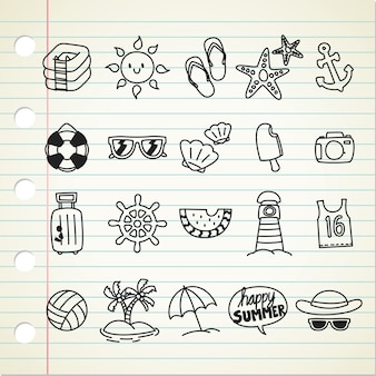 Summer themed line icon