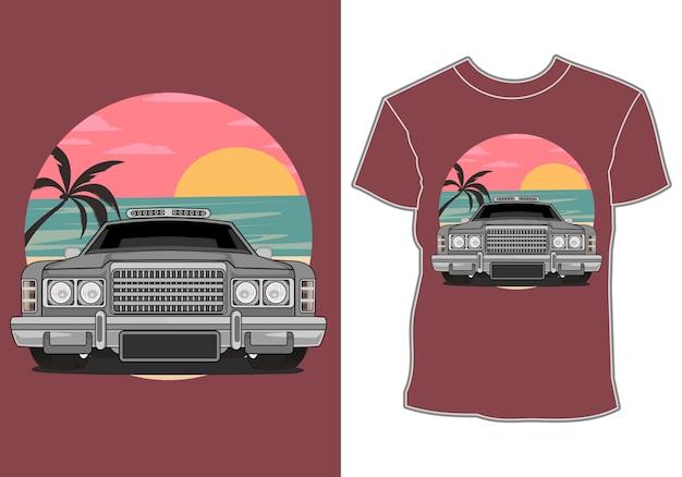 夏をテーマにしたtシャツのデザインとクラシック、レトロ、ヴィンテージカー