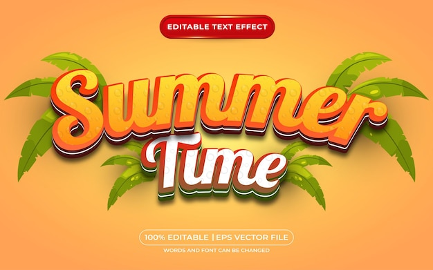 Summer time 3d editable text effect template style