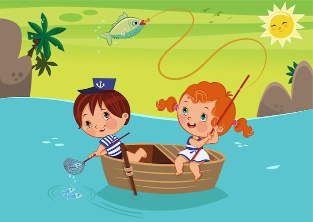 여름 시간에 소녀와 소년이 보트 벡터 삽화에서 낚시를 하고 있다