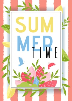 Summer time advertisement and floating butterflies in frame