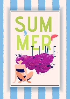 Summer time announcement in frame over striped backdrop