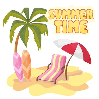 Summer time background banner design template and sign season elements beach