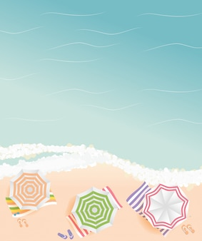 Summer time background. sunny beach in flat style