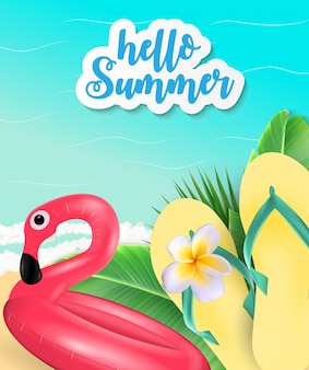 Summer time background. sunny beach