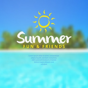 Summer time background with text Free Vector