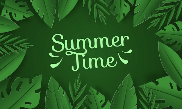 Летнее время фон с тропическими листьями на зеленом фоне
