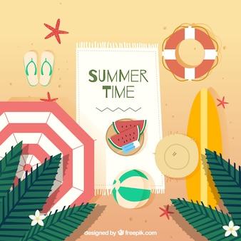 수 박과 여름 시간 배경