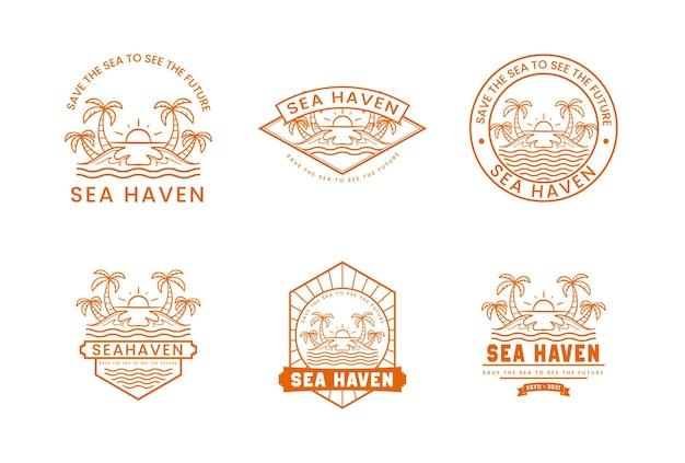 Summer time badge premium vector logo set