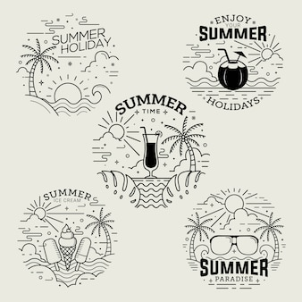 Summer time badges flat style with line art