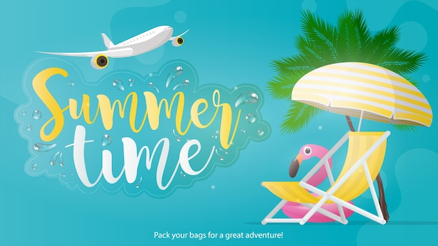 Летнее время баннер. синий фон на летнюю тему. шезлонг и зонтик от солнца с желтыми полосами, изолированные на белом фоне. пальмы и розовый фламинго