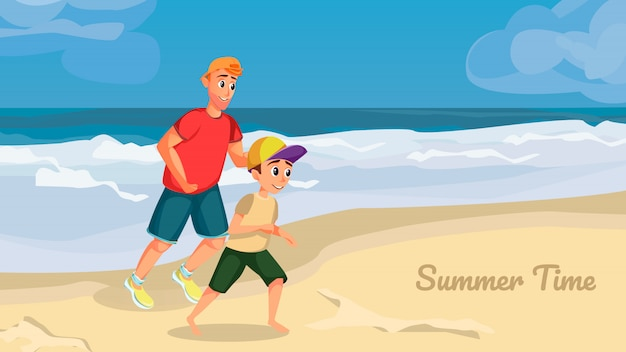 Summer time banner. cartoon man boy play on beach