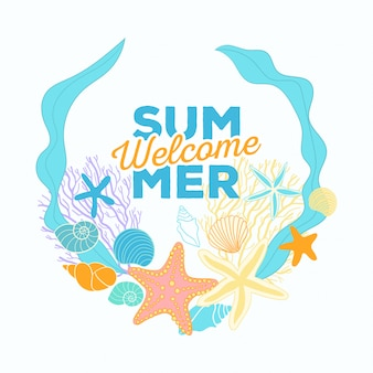 Summer time banner in circle composition