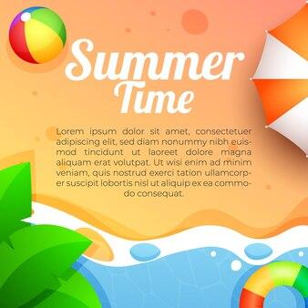 Summer time banner social media template illustration