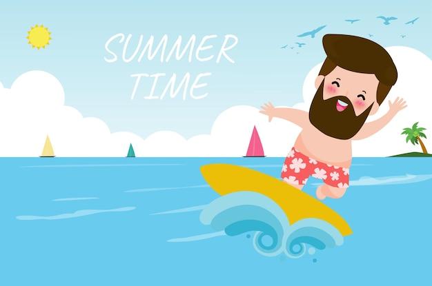 Летнее время баннер шаблон милый серфер люди персонаж с доской для серфинга и верхом на океанской волне
