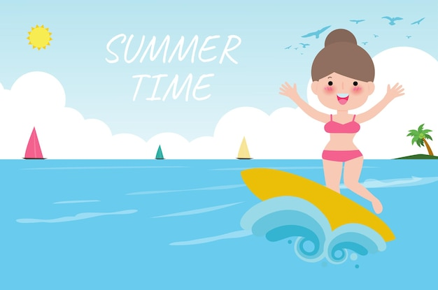 Summer time banner template cute surfer people character with surfboard and riding on ocean wave