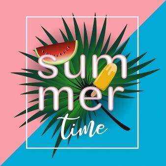 Summer time banner template trendy design