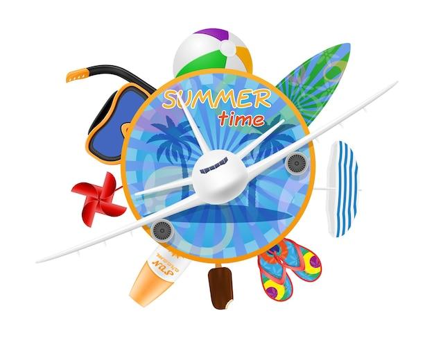 Летнее время баннер с самолетом и предметами для пляжного отдыха, изолированных на белом