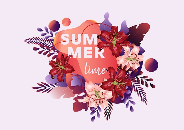 Summer time banner with lily flowers, leaves and abstract liquid shape and text