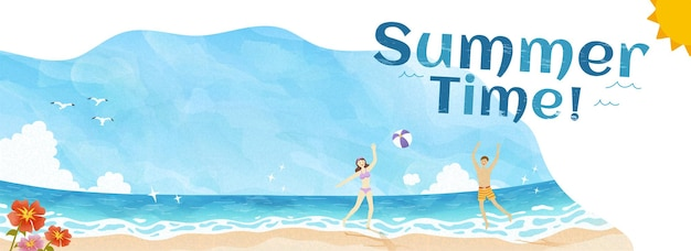Summer time banner with people playing at the beach doodle