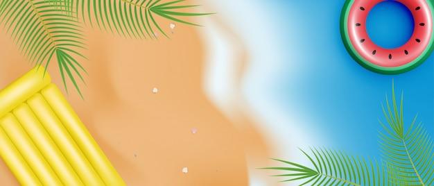 Летнее время баннер с реалистичным плавать кольцо и надувной матрас. вид сверху. шоппинг продвижение на летний сезон. 3d летние обои.