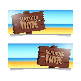 Summer time beach banner