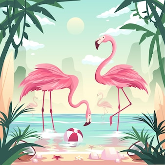 Summer time beach concept. flamingos catching fish at the seashore