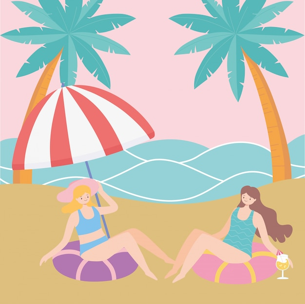 Summer time beach girls sitting on floats vacation tourism