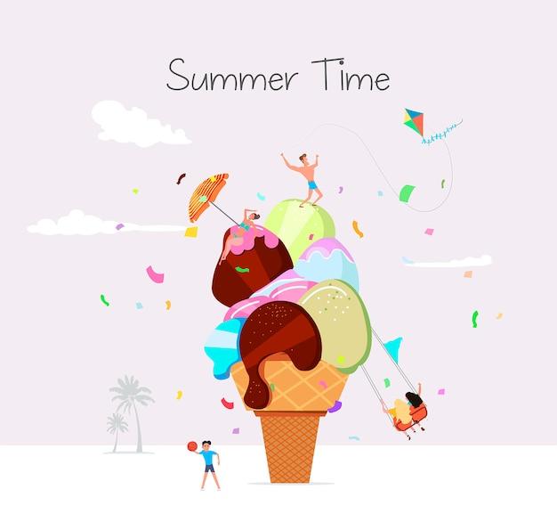 Летнее время пляж иллюстрация в векторе. люди загорают и веселятся напротив огромного мороженого.