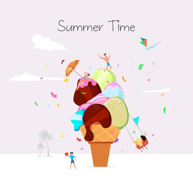 Summer time beach illustration in vector. people sunbathing and having fun against the huge ice cream.