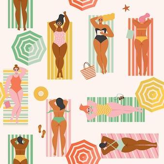 Summer time beach seamless pattern in people swimming sunbathing