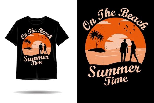 Summer time on the beach silhouette tshirt design