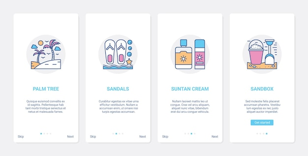 Summer time beach vacation line objects ui ux onboarding mobile app page screen set