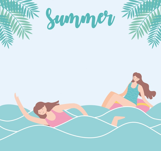 Summer time beach vacation tourism girl swimming in the sea and woman in float  illustration