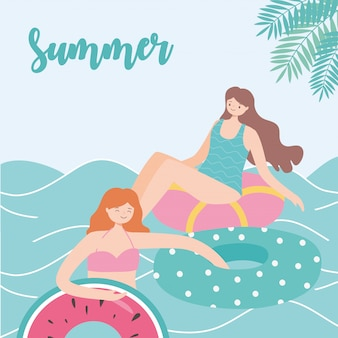 Summer time beach vacation women resting on floating rubber rings on sea  illustration