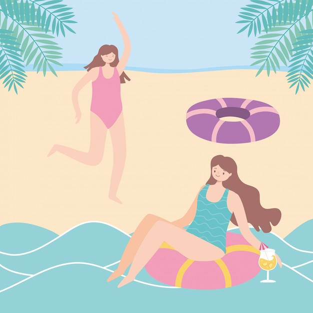 Summer time beach woman in float seat with cocktail and girl in beach vacation tourism