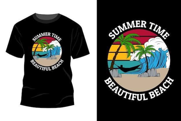 夏の美しいビーチtシャツモックアップデザインヴィンテージレトロ