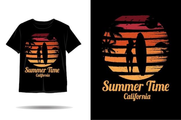 Summer time california silhouette tshirt design