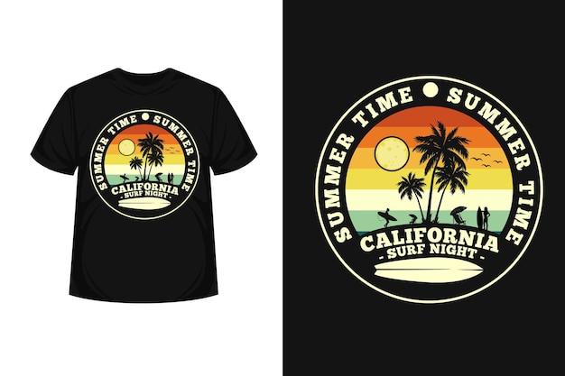 Дизайн футболки с силуэтом товаров summer time california surf night