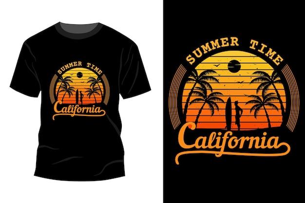 夏時間カリフォルニアtシャツモックアップデザインヴィンテージレトロ