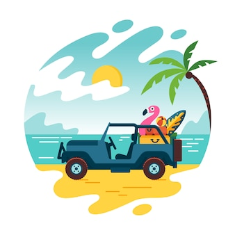 Summer time and car on beach with few suitcase. vacation and travel, a huge pile of things for the holiday. flat cartoon style illustration landscape, concept isolated  .